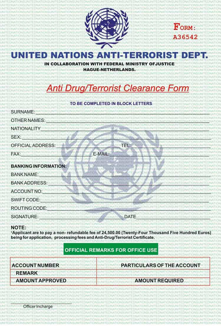 Nigerian 419 AFF fake UN-Anti TERRORIST FORM